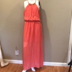 Women's Maxi Dress Sz. L by Lily Rose in Coral